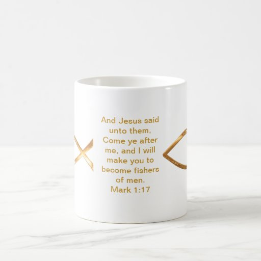 Gold Fish and scripture cover this mug...