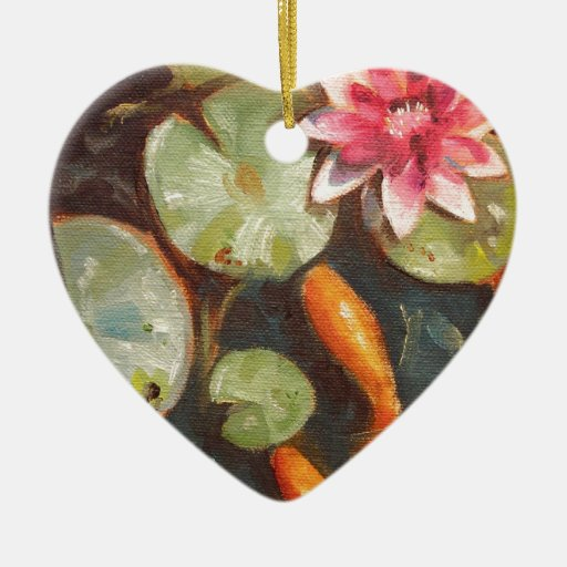 Gold Fish Koi Pond Water Lilies Double Sided Heart Ceramic Christmas Ornament Zazzle