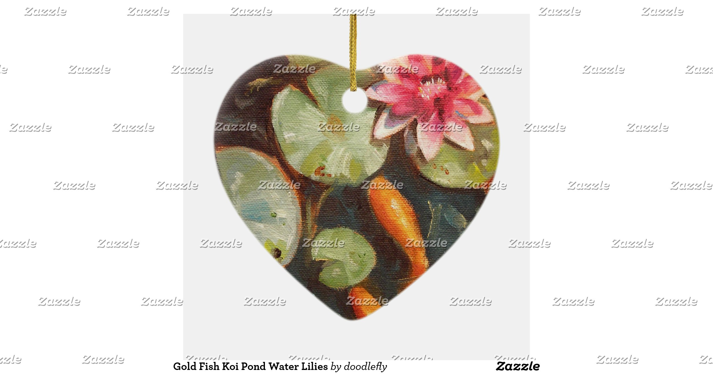 Gold fish koi pond water lilies double sided heart ceramic for Fish pond ornaments
