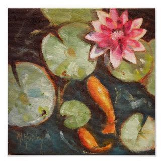 Gold Fish Koi Pond Water Lilies Poster