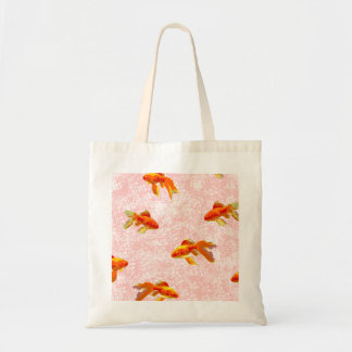 Gold fish pattern pink canvas bags