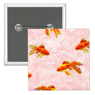 Gold fish pattern pink button