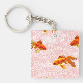 Gold fish pattern pink acrylic keychain