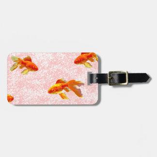 Gold fish pattern pink travel bag tag