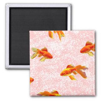 Gold fish pattern pink fridge magnet