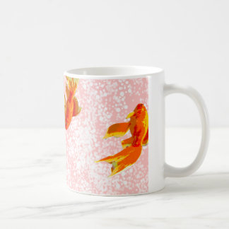 Gold fish pattern pink coffee mug