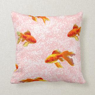 Gold fish pattern pink throw pillow