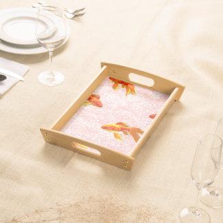 Gold fish pattern pink serving platter