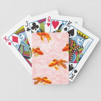 Gold fish pattern pink card deck