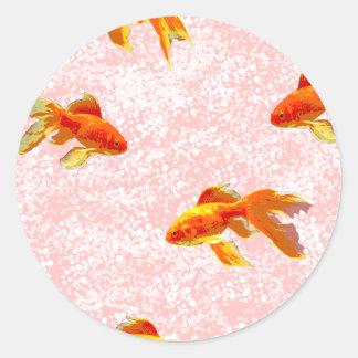 Gold fish pattern pink round sticker
