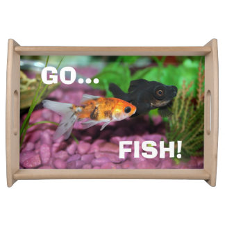 Gold Fish Serving Tray Card Tray