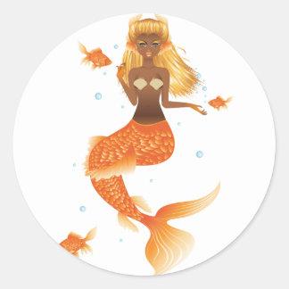 Gold Fish Tail Mermaid Classic Round Sticker