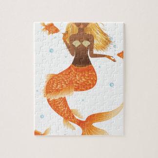 Gold Fish Tail Mermaid Jigsaw Puzzle