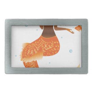 Gold Fish Tail Mermaid Rectangular Belt Buckle