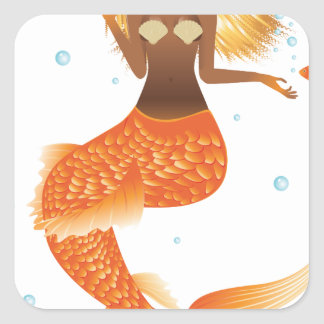 Gold Fish Tail Mermaid Square Sticker