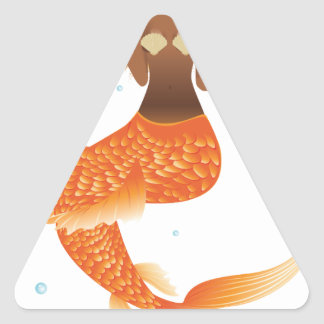 Gold Fish Tail Mermaid Triangle Sticker