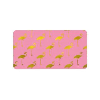 Gold Flamingo Faux Metallic Foil Tropical Flamingo Label