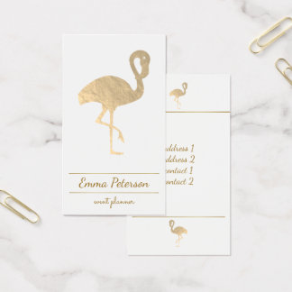 gold flamingo on white business card