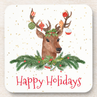 Gold Fleck Christmas Deer Happy Holidays Coaster