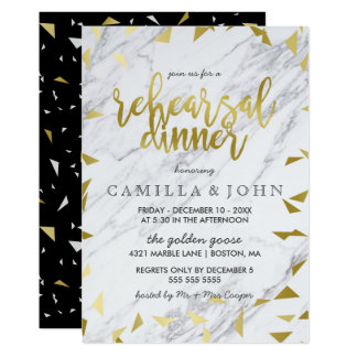 Gold Flecks & Marble Rehearsal Dinner Invitation