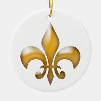 Gold Fleur de Lis Christmas Ornament
