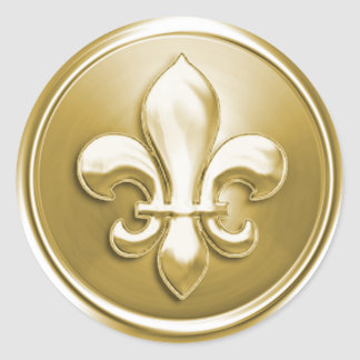 Gold Fleur de Lis Envelope Seal Embossed Look