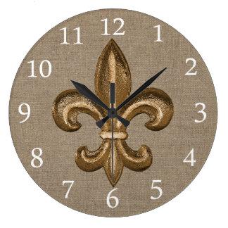 Gold Fleur de Lis Faux Burlap Clock
