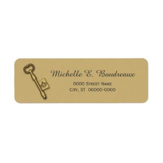 Gold Fleur de Lis Key Étiquettes D'adresse Retour