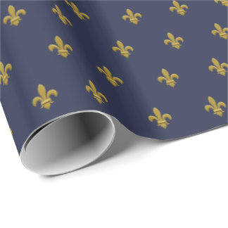 Gold Fleur de Lis Masculine Gift Wrap for Men Blue