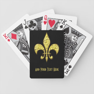 Gold Fleur de Lis on Black Playing Cards