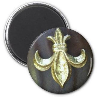 Gold  Fleur de lis on Brown Magnet