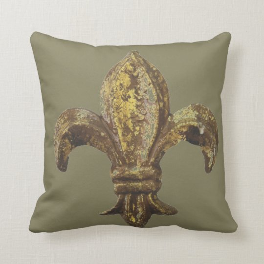 "GOLD ""FLEUR DE LIS"" WITH CUSTOMIZABLE BACKGROUND THROW PILLOW"