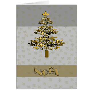 Gold Fleur de Lys Christmas Tree Noel Card