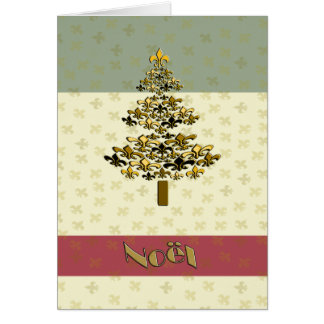 Gold Fleur de Lys Christmas Tree Noel Card