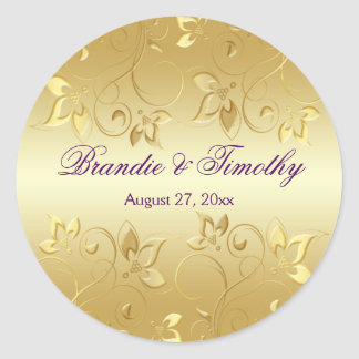 "Gold Floral and Purple 1.5"" Round Sticker"
