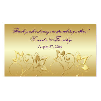 Gold Floral and Purple Wedding Favor Tag Business Card Template
