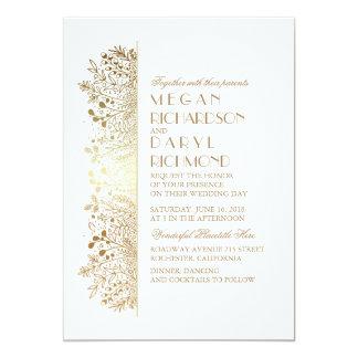 """Gold Floral Baby's Breath Elegant Wedding 5"""" X 7"""" Invitation Card"""