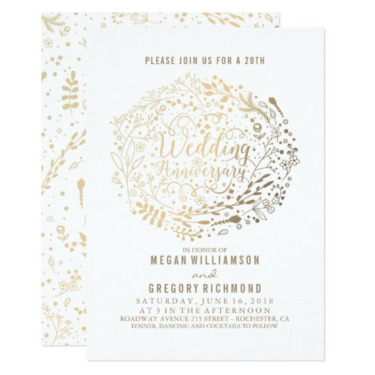 Gold Floral Bouquet Fabulous Wedding Anniversary Card
