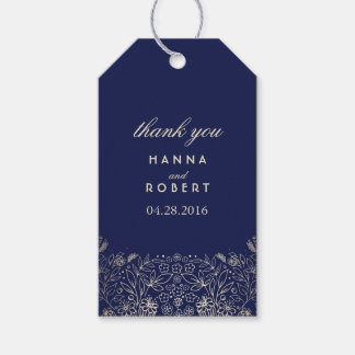 Gold Floral Countryside Garden Navy Wedding Gift Tags