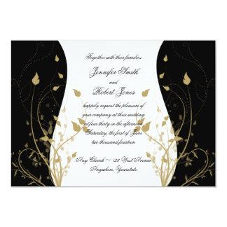 Gold Floral Curved Wedding Invitation
