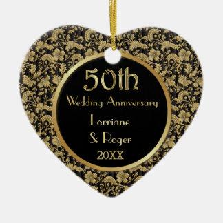 Gold Floral Elegance 50th Wedding Anniversary Ceramic Heart Ornament