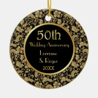 Gold Floral Elegance 50th Wedding Anniversary Round Ceramic Ornament