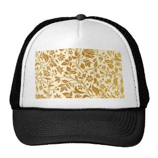 Gold,floral,elegant,on white,pattern,chic,trendy trucker hat