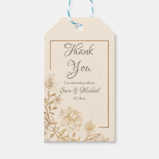 Gold Floral Flourish Thank You Tags