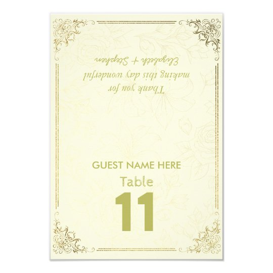 Gold Floral Frame Wedding Seating Table Number