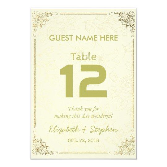Gold Floral Frame Wedding Seating Table Number