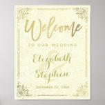 Gold Floral Frame Welcome Wedding Reception Sign