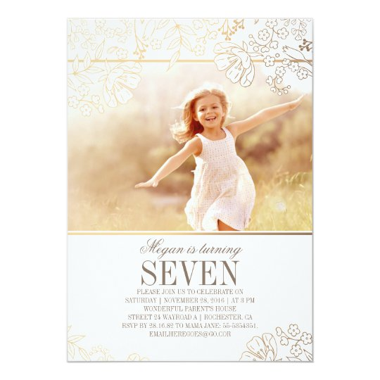 Gold Floral Girl Photo Birthday Party Invitation