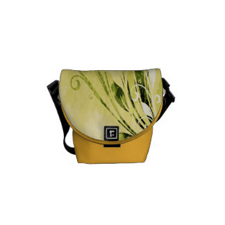 Gold Floral Grunge Courier Bags
