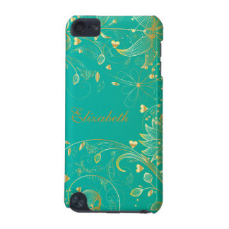 Gold Floral IPod Touch Case Teal Blue